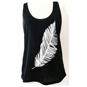 Lightweight Black with White Feather Tee